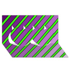 Purple and green lines Twin Hearts 3D Greeting Card (8x4)