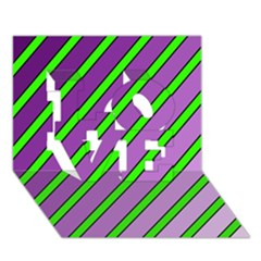 Purple and green lines LOVE 3D Greeting Card (7x5)
