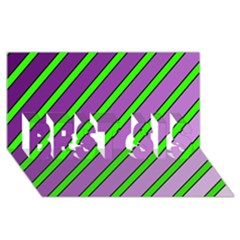 Purple And Green Lines Best Sis 3d Greeting Card (8x4)
