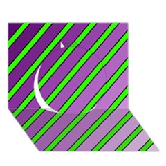 Purple and green lines Circle 3D Greeting Card (7x5)