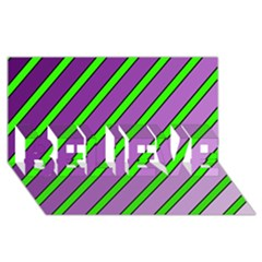 Purple and green lines BELIEVE 3D Greeting Card (8x4)