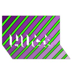 Purple And Green Lines Hugs 3d Greeting Card (8x4)