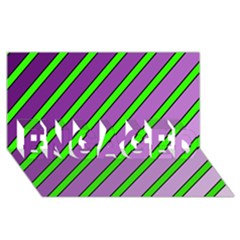 Purple and green lines ENGAGED 3D Greeting Card (8x4)