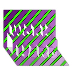 Purple and green lines WORK HARD 3D Greeting Card (7x5)