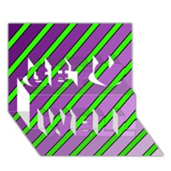 Purple and green lines Get Well 3D Greeting Card (7x5)