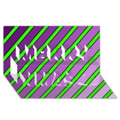 Purple And Green Lines Merry Xmas 3d Greeting Card (8x4)