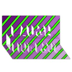 Purple and green lines Laugh Live Love 3D Greeting Card (8x4)