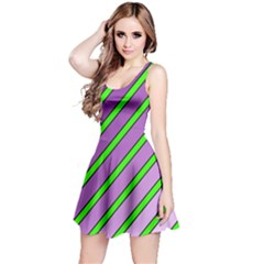 Purple and green lines Reversible Sleeveless Dress