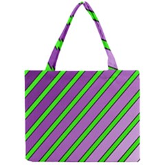 Purple and green lines Mini Tote Bag