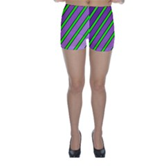 Purple and green lines Skinny Shorts