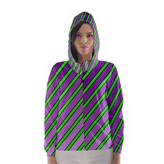 Purple and green lines Hooded Wind Breaker (Women)