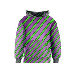 Purple and green lines Kids  Pullover Hoodie