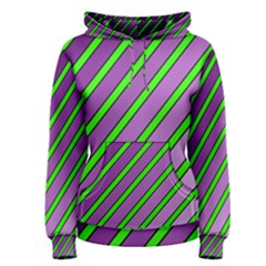 Purple and green lines Women s Pullover Hoodie
