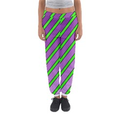 Purple and green lines Women s Jogger Sweatpants