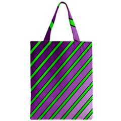 Purple and green lines Zipper Classic Tote Bag
