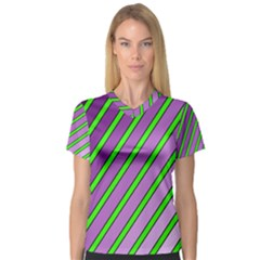 Purple and green lines Women s V-Neck Sport Mesh Tee