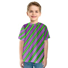 Purple and green lines Kid s Sport Mesh Tee