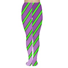 Purple and green lines Women s Tights