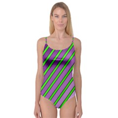 Purple and green lines Camisole Leotard