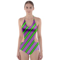 Purple and green lines Cut-Out One Piece Swimsuit