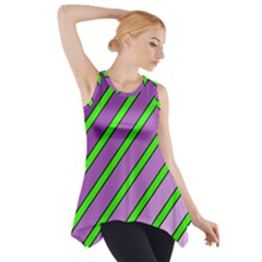 Purple And Green Lines Side Drop Tank Tunic