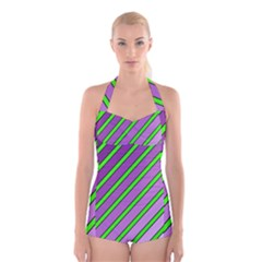 Purple and green lines Boyleg Halter Swimsuit
