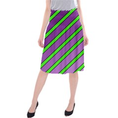Purple and green lines Midi Beach Skirt