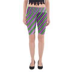 Purple And Green Lines Yoga Cropped Leggings