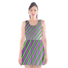 Purple And Green Lines Scoop Neck Skater Dress