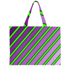 Purple and green lines Large Tote Bag