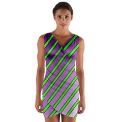 Purple And Green Lines Wrap Front Bodycon Dress