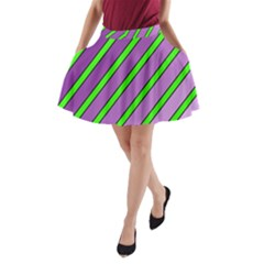 Purple and green lines A-Line Pocket Skirt