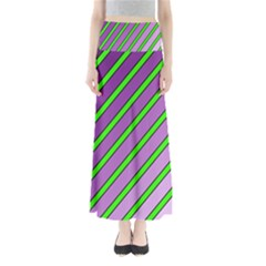 Purple and green lines Maxi Skirts