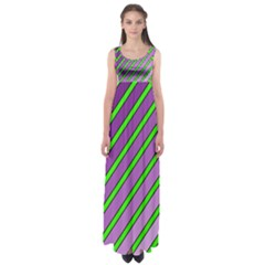 Purple And Green Lines Empire Waist Maxi Dress