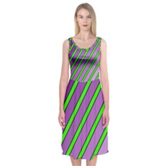 Purple And Green Lines Midi Sleeveless Dress