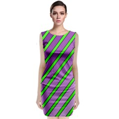 Purple And Green Lines Classic Sleeveless Midi Dress