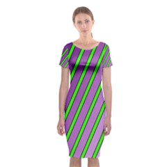 Purple And Green Lines Classic Short Sleeve Midi Dress