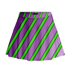 Purple And Green Lines Mini Flare Skirt