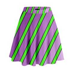 Purple And Green Lines High Waist Skirt