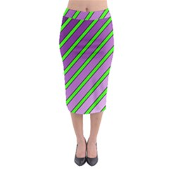 Purple And Green Lines Midi Pencil Skirt