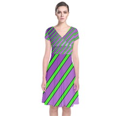 Purple And Green Lines Short Sleeve Front Wrap Dress