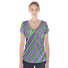 Purple And Green Lines Short Sleeve Front Detail Top