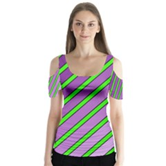 Purple And Green Lines Butterfly Sleeve Cutout Tee