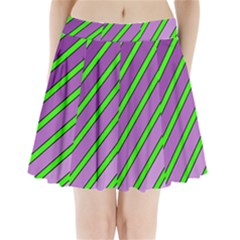 Purple And Green Lines Pleated Mini Mesh Skirt