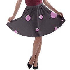 Pink bubbles A-line Skater Skirt
