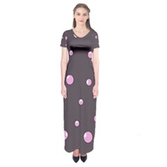 Pink Bubbles Short Sleeve Maxi Dress