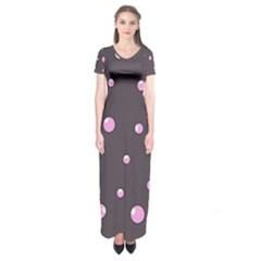Pink Bubbles Short Sleeve Maxi Dress