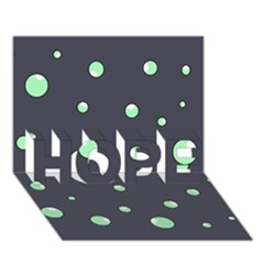 Green bubbles HOPE 3D Greeting Card (7x5)