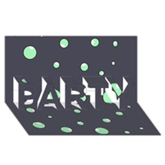 Green bubbles PARTY 3D Greeting Card (8x4)