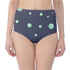 Green bubbles High-Waist Bikini Bottoms